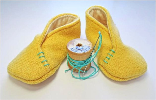 Cute yellow baby booties
