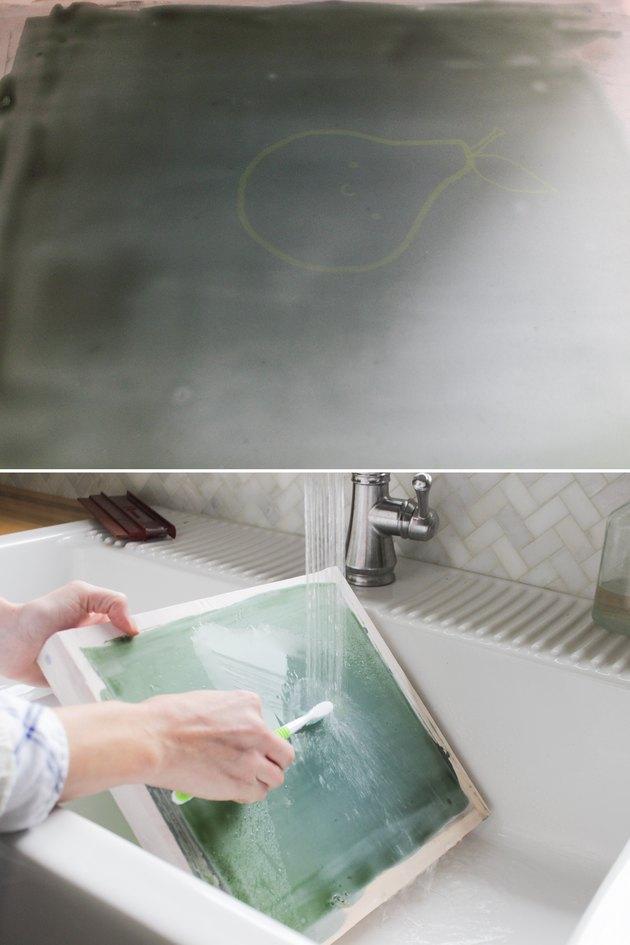 Removing emulsion where design was burned