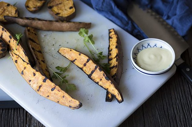 Grilled sweet potatoes with aioli