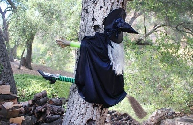 A fake witch hitting a tree