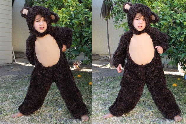 Child in bear costume