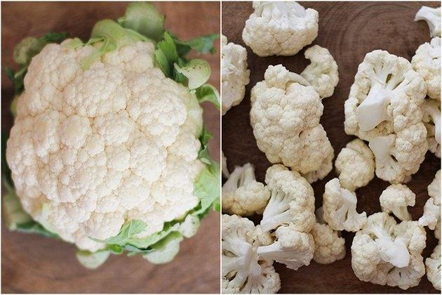 Chopped cauliflower.