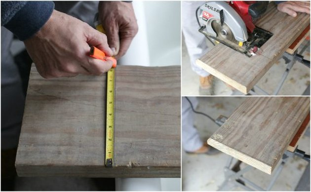 Measuring the wooden bath caddy