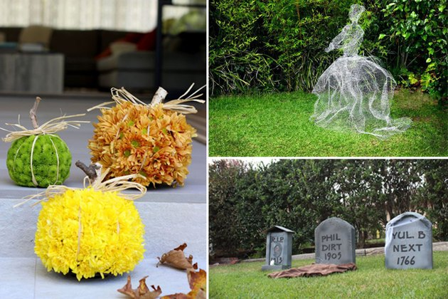 floral pumpkins, chicken wire ghost and cardboard tombstones.