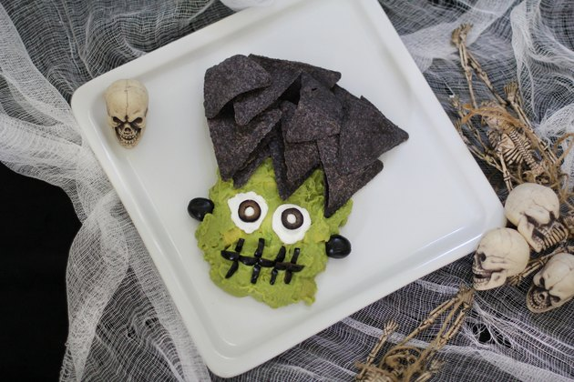 Guacamole shaped like Frankenstein's face