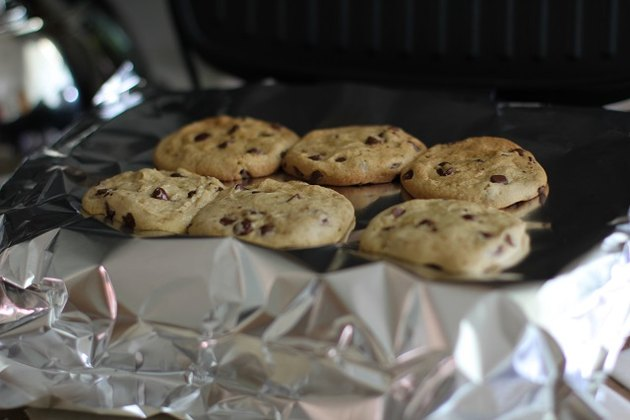 Finished cookies on a grill.
