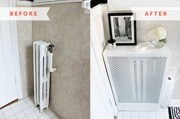 Before and after photo of a radiator and a radiator cover