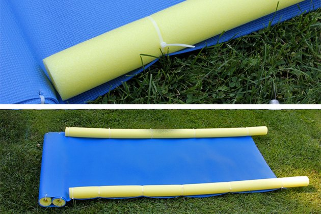 Secure the pool noodles to the sides of the mat with cable ties.