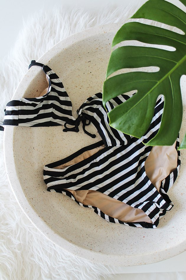 Black and white striped bikini