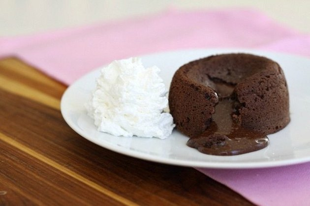 Chocolate lava cake with a side of whipped cream