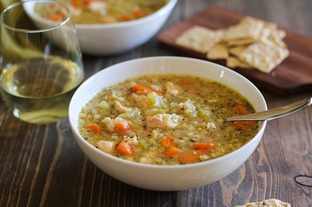 Slow cooker chicken rice soup.