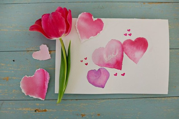 A valentine made with watercolor.