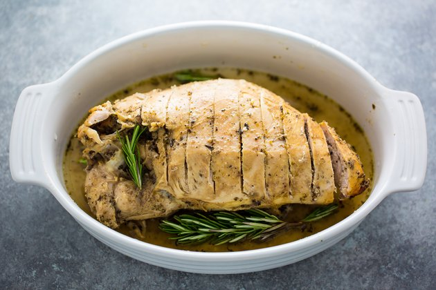 Juicy turkey breast made in a slow cooker.