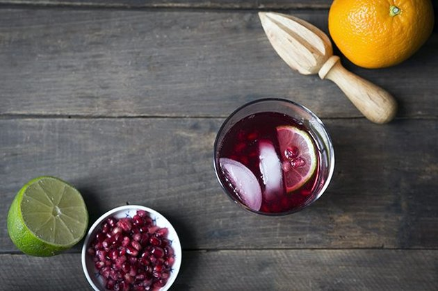 Pomegranate gin and tonic