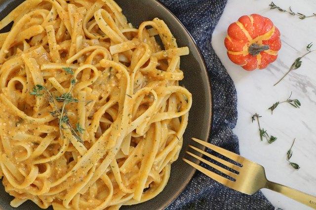 Vegan pumpkin Alfredo pasta