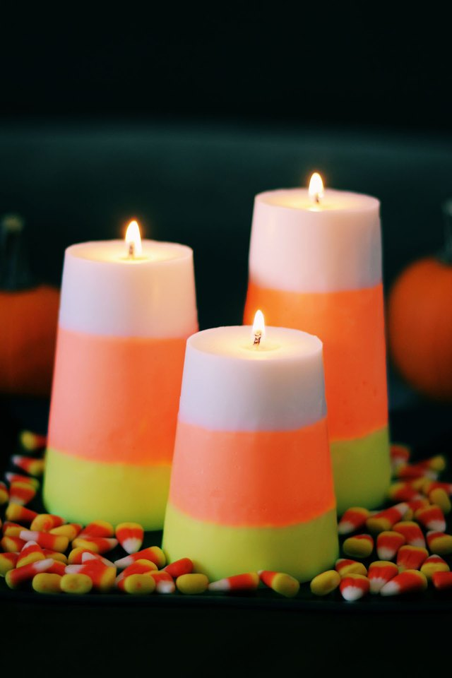 set of candy corn candles