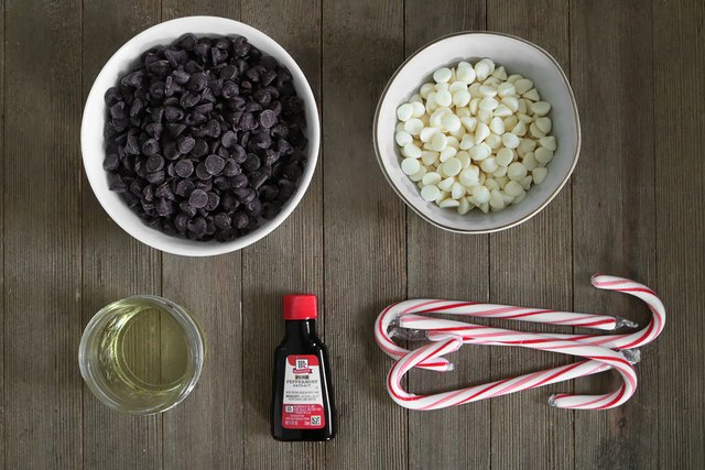 Ingredients for chocolate candy cane shot glasses