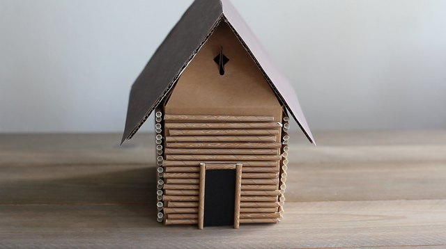 Paper door glued to front of box