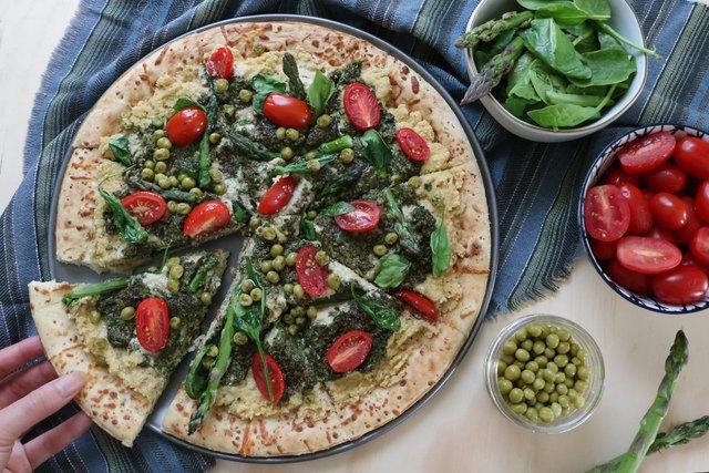 Vegan spring garden pizza