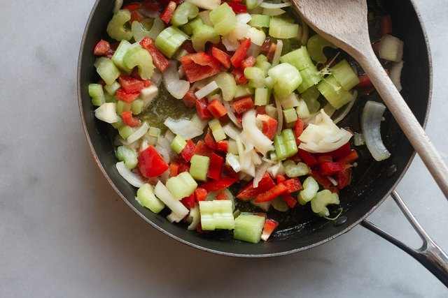 Cook the vegetables until they are just browned and soft.