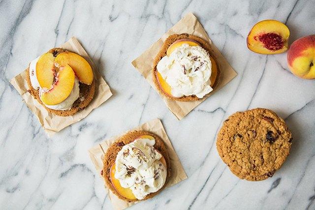 Peaches and Pecan Bourbon Ice Cream Sandwiches Recipe