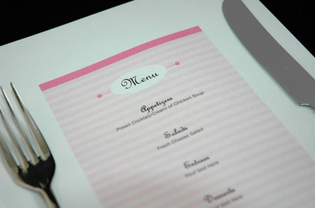 knife fork and menu