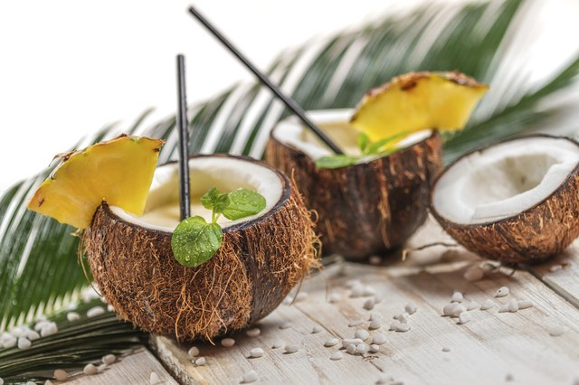 Pinacolada in the coconut with pineapple
