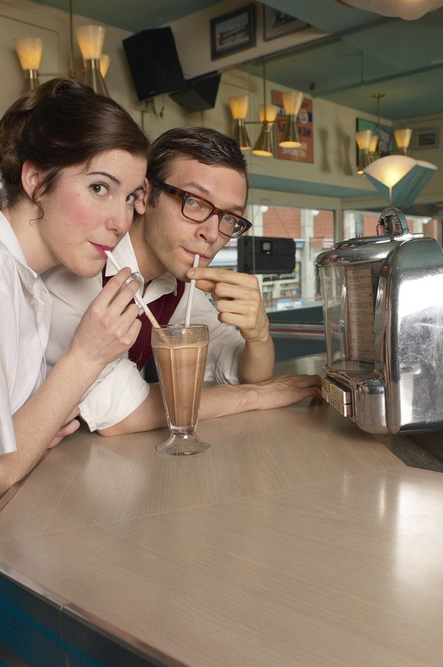 Couple drinking milkshake