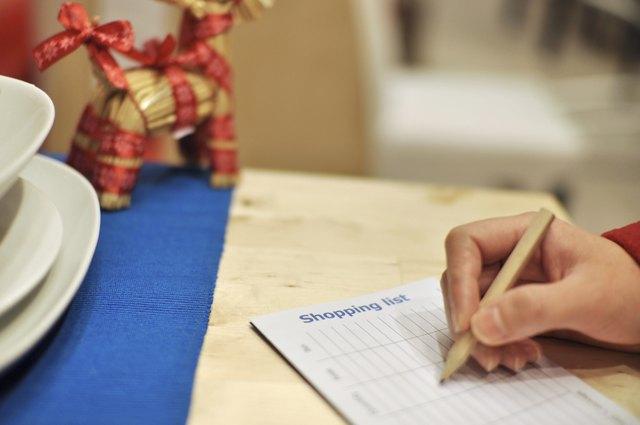 Writing shopping list for xmas season