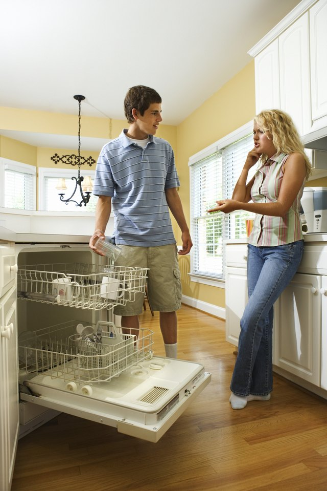Sister telling brother to load dishwasher