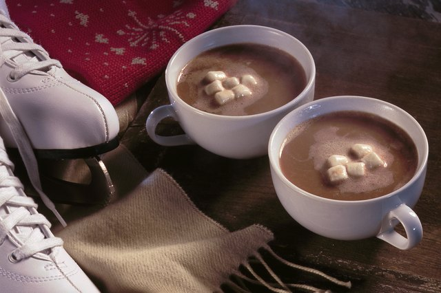 Hot cocoa with scarf and ice skates