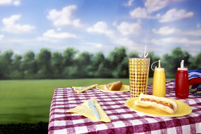 Hot dogs on picnic table