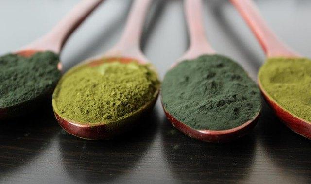 Spirulina and Chorella supplement powder