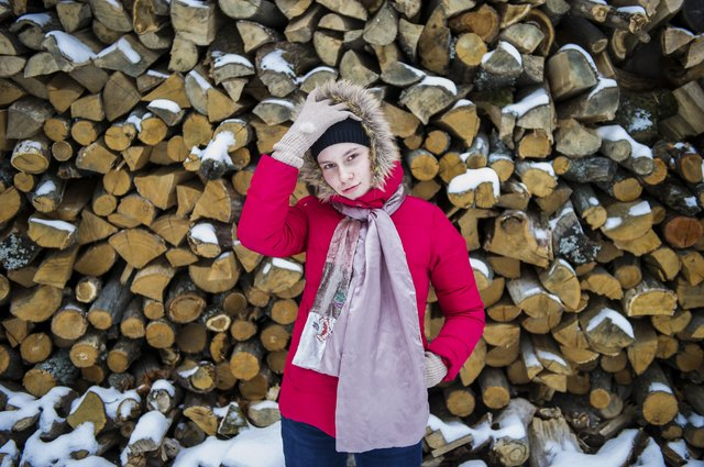 Teenager girl and snow