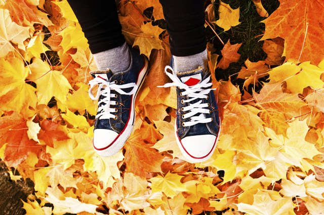 Tired leg: Footwear on a dry colourful leaves