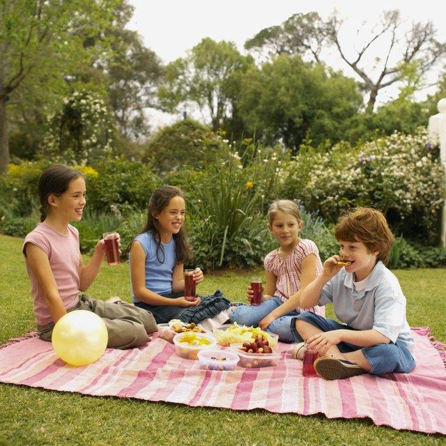 Four children having picnic in garden (8-12)