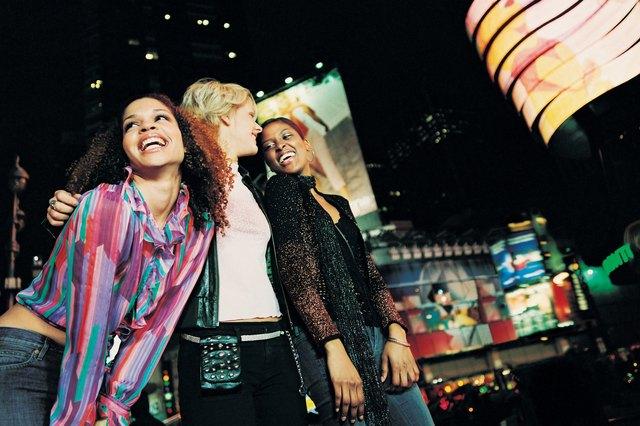 Female Friends in a City at Night