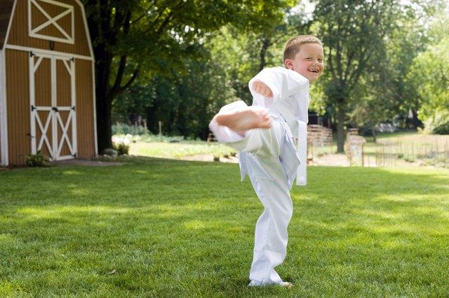 Boy doing karate