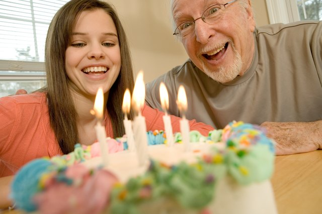 Grandfather and granddaughter with birthday cake