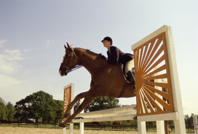 Side profile of a jockey on a horse jumping over a hurdle