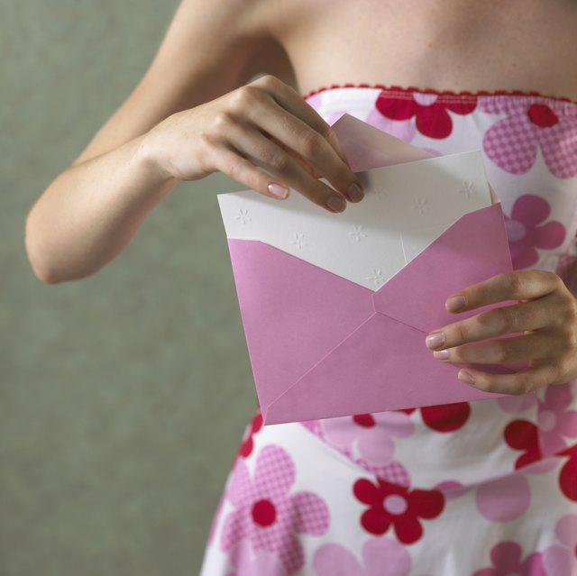 Taking card out of envelope