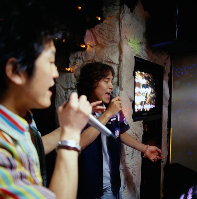 Two young men singing into microphones at karaoke bar