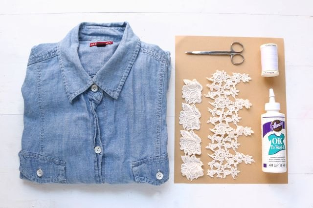 Materials needed for DIY Free People shirt hack