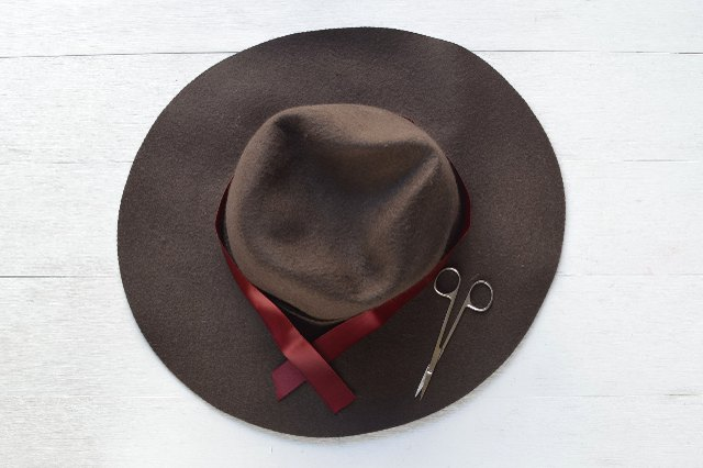 Measure and cut ribbon to fit around the hat