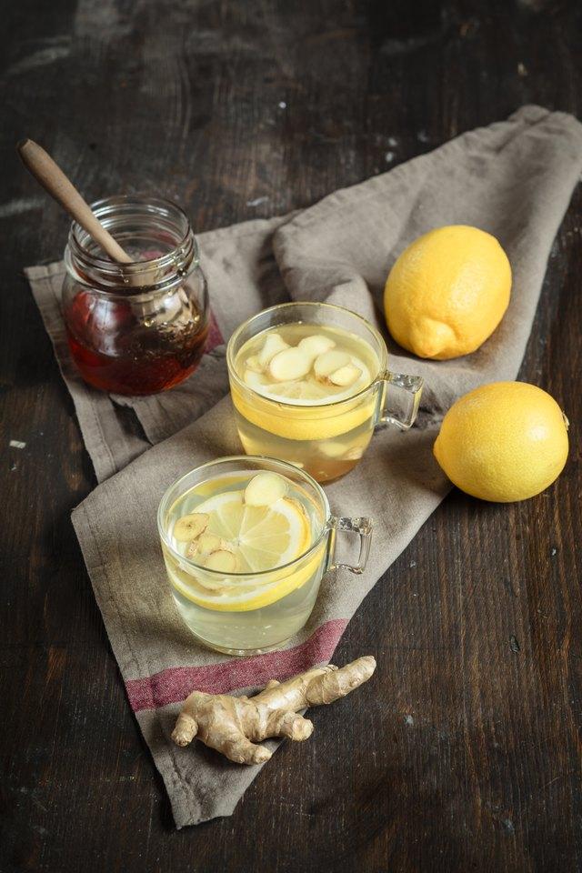 Hot lemon and ginger tea