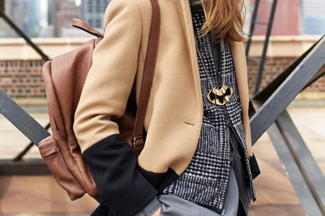 Brown leather backpack and fall outfit