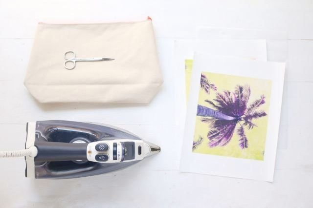 Supplies for DIY palm tree print canvas pouch