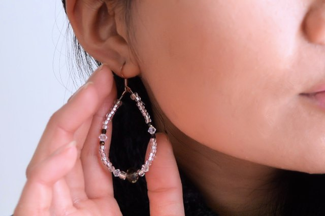 Finished beaded crystal teardrop earrings