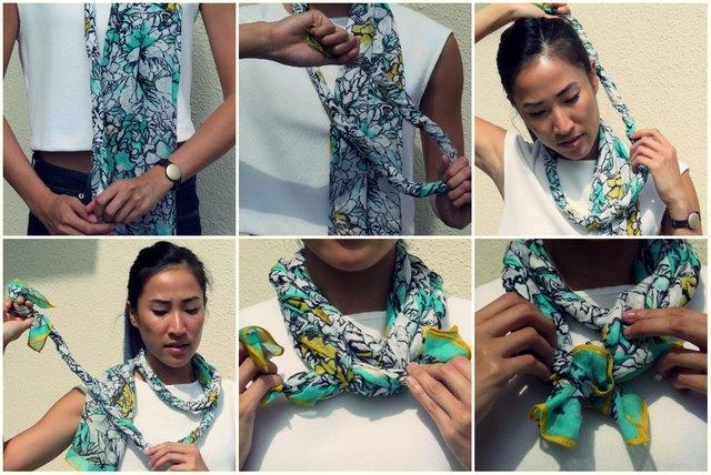 How to tie the twist around scarf.