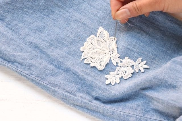 Stitch the lace